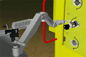 DockDeploy&Operate - GRL's ROVolution v4.0 simulating a Titan manipulator applying a torque tool to turn a valve.