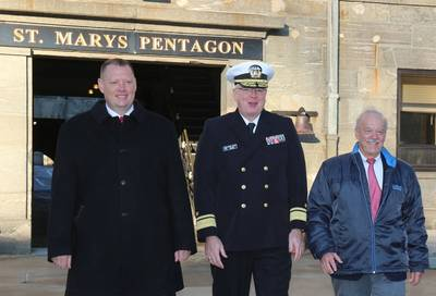 L-R: Dan Gillette, president of the Fort Schuyler Maritime Alumni Association; Rear Adm. Michael Alfultis, president of SUNY Maritime College; Capt. Robert Johnston, chairman of the SUNY Maritime Foundation, in St. Mary's Pentagon in historic Fort Schuyler on the college's campus. (Photo: SUNY Maritime)