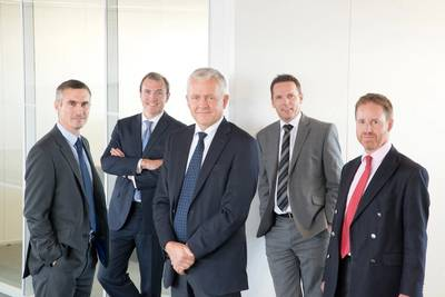 L-R, Peter Ellington, Chief Technical Officer (CTO), Richard Sell, Chief Operating Officer (COO), Tor Helgeland, Chief Executive Officer (CEO), Kev Cooper, Chief Information Officer (CIO) and Lyall Dochard (CFO).