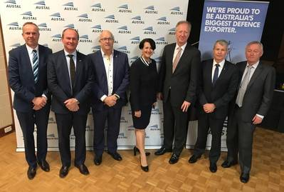 L-R: Thomas Sass (Fassmer), Hon Martin Hamilton-Smith - Minister for Defense Industry (SA), David Ridgeway MLC - Leader of the Opposition in the Legislative Council, Vickie Chapman - Deputy Leader of the Opposition, David Singleton (Austal), Senator David Fawcett and Senator Alex Gallagher (Photo: Austal)