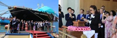 (L)The Naming and Delivery Ceremony of Seri Cempaka at the HHI Shipyard in Ulsan, South Korea. (R) The Lady Sponsor, Y. Bhg. Datin Teo Yin Hui Officiating the Naming Ceremony of Seri Cempaka. Photos: MISC Berhad