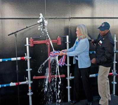 Lyn Glenn christening the ship: Photo courtesy of NASSCO