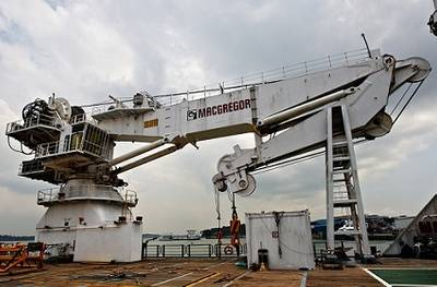 MacGregor crane detail on the MPSV Bourbon Evolution 802, multi-purpose supply vessel of the Bourbon Evolution 800 series in Singapore