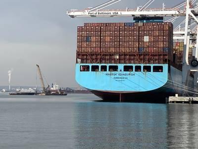 Maersk Edinburgh at Baltimore's Seagirt Marine Terminal, Ports America, Chesapeake, February 9, 2021.  Photo courtesy of Maryland Port Administration.