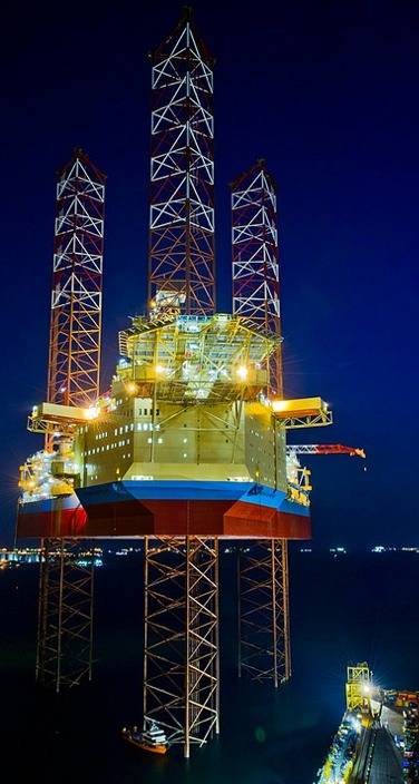 Maersk Intrepid at night: Image Maersk Drilling