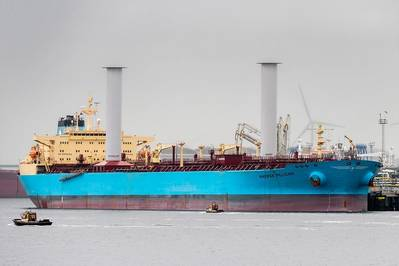 Maersk Pelican with Norsepower Rotor Sails. Pic: Norsepower