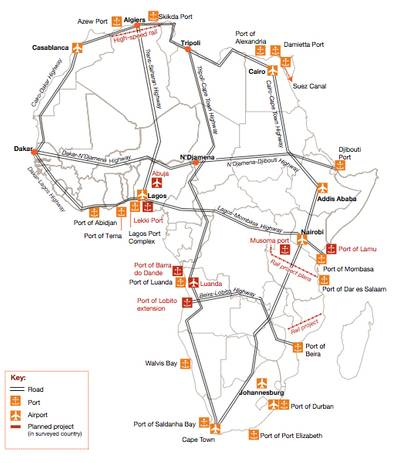 Major port projects & logistics: Map credit PwC