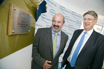 Malcolm Webb (right), Oil & Gas UK chief executive, officially opens Magma Products' new Aberdeen office, with the company's managing director, Paul Rushton.