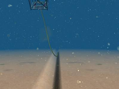 Managing vessel heading and cable pay-out from stinger in strong currents for accurate touchdown in trench.