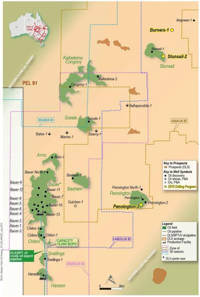 Map of PEL 91 including Balgowan-1 and Burners-1