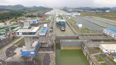 Maran Gas Apollonia transiting the Expanded Panama Canal's Cocoli Locks (Photo: Panama Canal Authority)