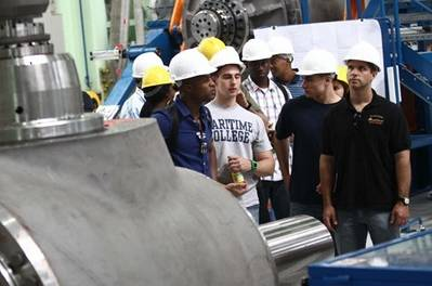 Maritime Cadets tour the plant (Photo: SUNY Maritime)