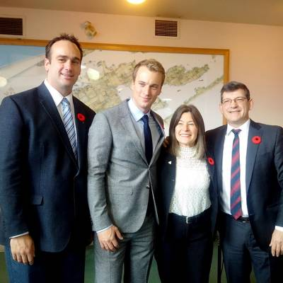 Mark Gerretsen, MP for Kingston and the Islands; Leo Postma, Sales Manager, Damen Shipyards Gorinchem; Sophie Kiwala, Member of Provincial Parliament; Mike Bossio, MP of Hastings-Lennox and Addington (Photo: Damen)