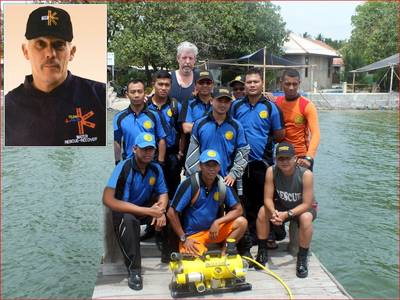 Members of Indonesia's NSRA with Lifeguard trainer William Porter & Fisher ROV,  Inset - Lifeguard president Butch Hendrick
