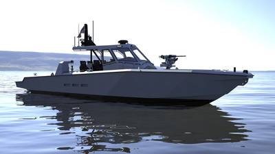 Metal Shark has recently introduced the 45, 52, and 63 Fearless Super Interceptors, boasting top speeds of 70 knots. (Image: Metal Shark)