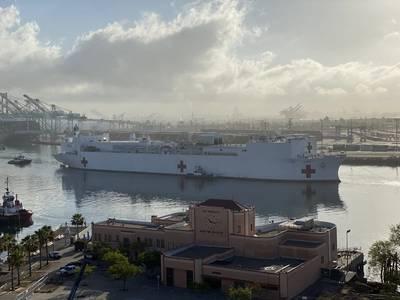 Military Sealift Command hospital ship USNS Mercy (T-AH 19) departs Los Angeles (Photo: Port of Los Angeles)