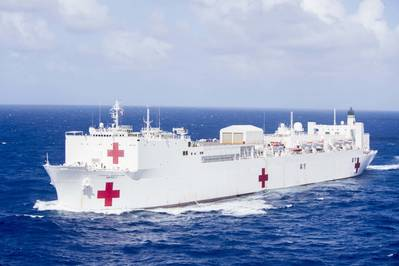 Military Sealift Command hospital ship USNS Mercy (T-AH 19) transits the waters near Guam en route for Pacific Partnership 2018 (U.S. Navy photo by  Kelsey L. Adams)