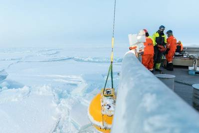 Mooring retrieved on board the Svalbard (photo credit: Daniel Fatnes of the Norwegian Coast Guard)