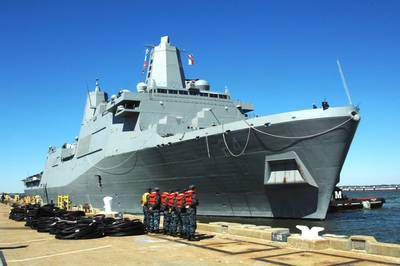 Amphibious Warship 'Arlington': Photo credit USN
