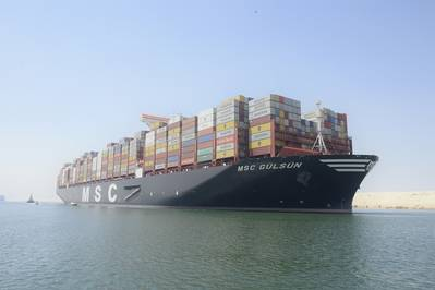 MSC GULSUN,  the largest container ship in the world, transits the Suez Canal for the first time 9 August 2019. CREDIT: SCA