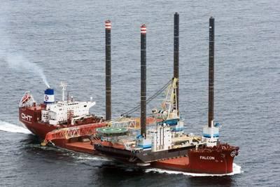 MV Falcon transporting jack-up barge JB 118 from Abu Dhabi, UAE to Guangzhou