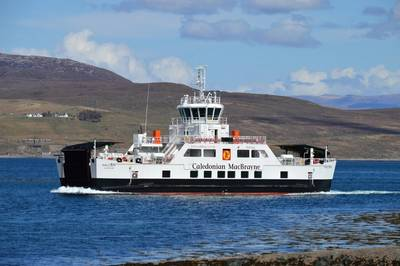 MV Hallaig, one of the CMAL hybrid ferries, approaching Sconser
