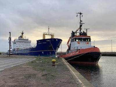 MV Oceanic Pintail being towed 1000nm to Dales Marine dry dock facilities at Leith  (Photo: Dales Marine)