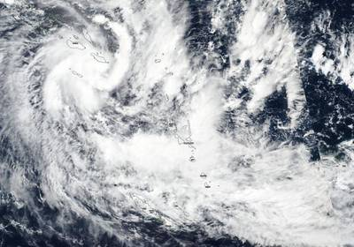 NASA-NOAA's Suomi NPP satellite captured a visible image of Tropical Cyclone Harold over the Solomon Islands in the Southern Pacific Ocean on April 3, 2020. Credit: NASA Worldview, Earth Observing System Data and Information System (EOSDIS)