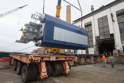 Newport News Shipbuilding has converted its steam-generation plant from heavy fuel oil to natural gas. The new system will reduce greenhouse gases by 30 percent and save the shipyard about $8 million per year. (Photo by Chris Oxley/HII)