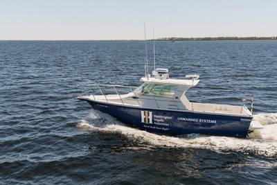 Huntington Ingalls Industries' 27-foot Proteus USV, outfitted with Sea Machines Robotics' SM300 autonomy system. Photo courtesy HII/Sea Machines