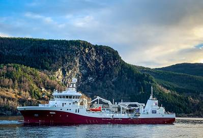 Norsk Fisketransport AS took delivery of a new Havyard wellboat dubbed Reisa, a boat that is designed to offer greater salmon capacity and enhanced fish welfare. Photo: Havyard