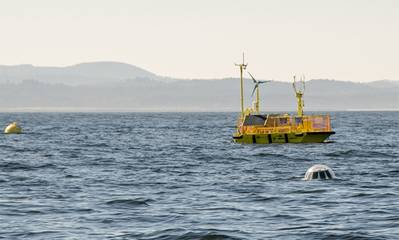 Ocean Sentinel wave energy testing system off Newport: Photo courtesy of NOAA/Pat Kight, Ore. Sea Grant