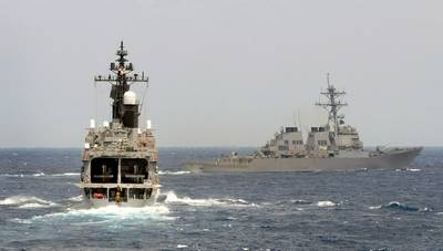 Official U.S. Navy file photo of the guided-missile destroyer USS Fitzgerald (DDG 62), right, taking part in Exercise Malabar 2009 with the Japan Maritime Self-Defense Force destroyer JDS Kurama (DDH 144), April 30, 2009. Photo: United States Navy