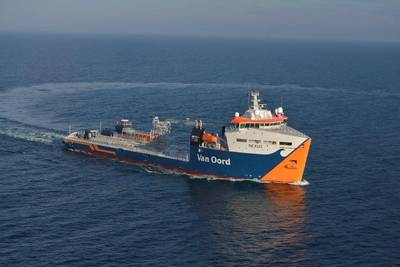 Offshore Contractor Van Oord has taken delivery of the Damen Offshore Carrier 8500 Cable Layer Nexus, which, when all cable laying equipment is installed, is intended to install electricity cables for the Gemini Offshore Wind Farm. (Photo: Damen)