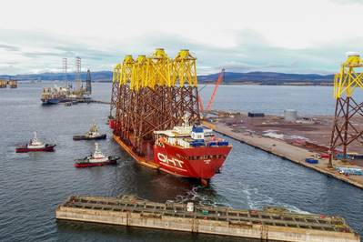 OHT's MV Hawk arrives at the Port of Nigg, Scotland, with the final load of jacket foundations for Moray East from UEA. Image source: OHT
