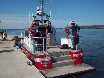 Tacoma Fire Department's MetalCraft fireboat was on display at the 2014 Maritime Security West conference, now underway in Tacoma. (Photo by E. H. Lundquist)