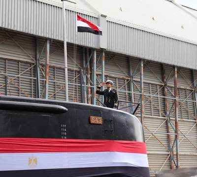 """On April 9, 2020, """"S43"""" as the third of four HDW Class 209/1400mod submarines was officially handed over by thyssenkrupp Marine Systems to the Navy of the Arab Republic of Egypt. (Photo: © thyssenkrupp AG, https://www.thyssenkrupp-marinesystems.com)"""