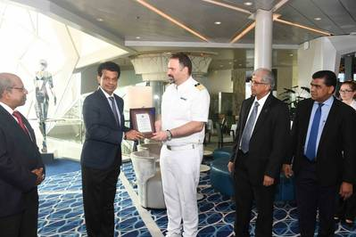 On behalf of Sri Lanka Ports Authority (SLPA), the Chairman of Sri Lanka Ports Authority (SLPA) Dr.Parakrama Dissanayake exchanges plaques with the Maseter of Mein Schiff 3 - Capt. Alevropoulos George. The Manging Director of Shipping Agency Services (pvt) Ltd - Mr.Gihan Nanayakkara is also in the picture. Pic: Port of Colombo