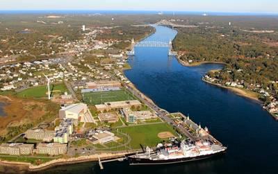One of seven U.S. maritime academies, the Massachusetts Maritime Academy's picturesque campus in Buzzards Bay has sent thousands of mariners into the global maritime workplace since its inception in 1891. CREDIT: MMA