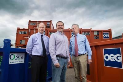 Osca regional director Donald Guthrie, OEG CEO John Heiton, Osca Chairman Bob Smith at OEG's base at Dyce, Aberdeen (Credit OEG)