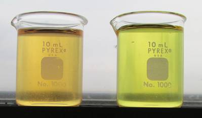PAG's; one and all: DOW's UCON Trident PAG Hydraulic Lubricant (orange) and American Chemical Technology's Trident Gear Lubricant (bright green shade yellow).