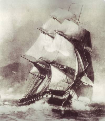 Painting from the U.S. Library of Congress of the frigate USS Constitution