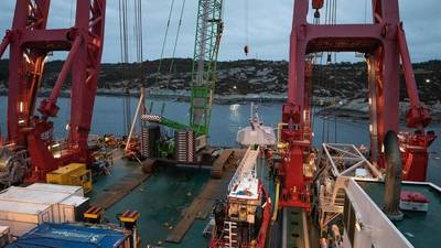 "Parts of the frigate ""Helge Ingstad"" seen from one of the two barges. Photo by Bendik Skogli, Norwegian Armed Forces"