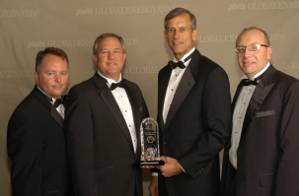 Perdido project leaders who attended the Platts Global Energy Awards, pictured left to right: Kurt Shallenberger (Topsides Leader), Chris Smith (Operations Manager), Dale Snyder (Project Manager), Bill Townsley (Venture Manager). (PRNewsFoto/Shell Oil Company)