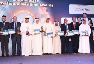 Photo: At the award ceremony: Capt. Abdul Wahab M. Al Diwani, representing IMO's Integrated Technical Cooperation Program's Regional partner - the Regional Organization for the Protection of the Marine Environment/ Marine Emergency Mutual Aid Centre (ROPME/MEMAC) - receiving the award on behalf of the GloBallast Project.