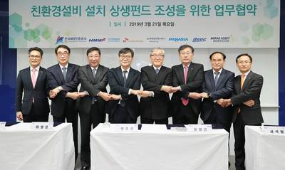 Photo: From left to right: Young-Jun Yoon (CEO of PANASIA), Jun-Sup Shin (CEO of DSEC), Myeong-Ho Ha (CEO of Hyundai Corporation), Ho-Seon Hwang (KOBC), C.K. Yoo (President & CEO of HMM), Seok-Won Seo (President & CEO of SKTI), Kwang-Hun Ahn (CEO of Hyundai Global Service), and Ki-Cheon Nam (CEO of Multi Asset Global Investments)