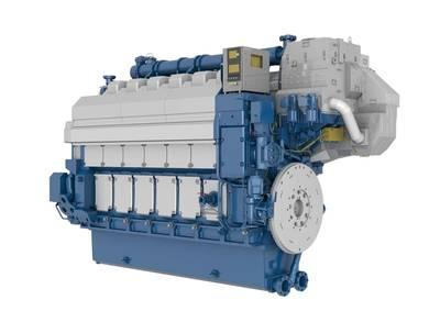 Picture of a 6-cylinder in-line Wärtsilä 34DF engine.