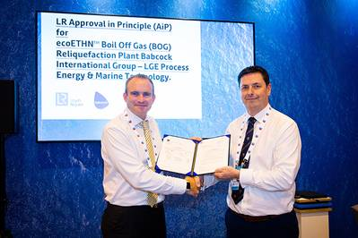 Pictured from left to right: Andrew McKeran, LR's Commercial Director, awarded Neale Campbell, Babcock's Managing Director, an AiP for its ecoETHN solution at Gastech 2019 in Houston (Photo: LR)