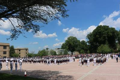 Plebe candidates of the Class of 2022 stood in formation at the U.S. Merchant Marine Academy for the first time and reported to the Indoctrination Regimental Staff, led by Regimental Commander Midshipman First Class Alexis Ibach.. Image: USMMA