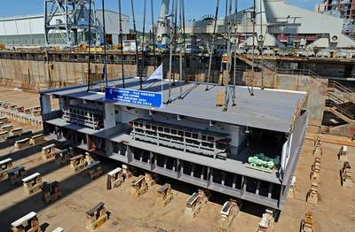 P&O Cruises' New Ship's Keel: Photo credit Fincantieri:
